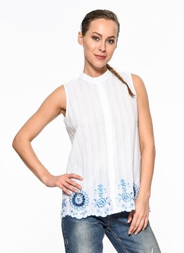 Setre Kolsuz Nakışlı Gömlek Beyaz